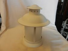 Vintage Round White Metal Hanging Tea Light Candle Holder Lantern Style