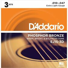 D'Addario EJ15-3D Acoustic Guitar Strings Daddario Extra Light 10-47 3 Pack