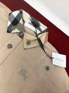NEW Nwt BURBERRY Children kids Boys Polo Shirt W Nova Check Collar, BEIGE