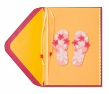 Fun Papyrus Blank Card - 3D Rubber Pink Flower Flip Flops & Beaded Satin Ribbon