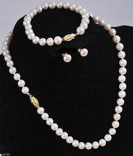 7-8MM White Akoya Cultured Pearl Necklace Bracelet Earring Set AAA