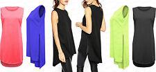 Ladies NEW NEON Plain Fashion Split Slit Long Tunic Top Shirt Oversized 8-14