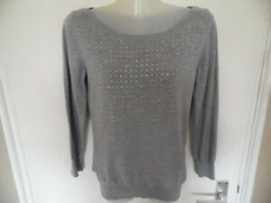 Ladies Grey Round Neck, Long Sleeve Jumper with Diamante Detail from Next Size 6