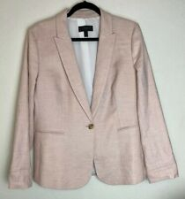 J. Crew Parke Blazer Stretch Linen Lined Size 14 Baby Pink Career Summer