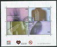 Bund Block 54 gestempelt EST Frankfurt BRD 2200 - 2203 Für die Gesundheit 2001