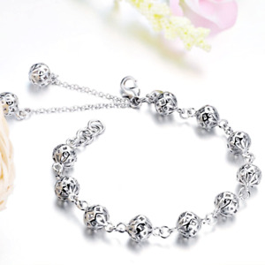 Ladies Popular Charming 18K White Gold Filled Hallow Out Beaded Linked Bracelet