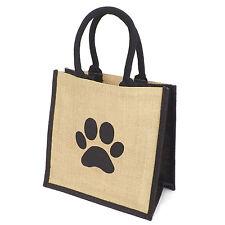 Jute Hessian Burlap Medium Black Trim Ping Bag Printed Dog Paw Motif