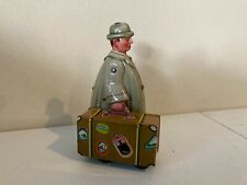 Vintage 1950'S Tin Litho Wind-Up Traveling Man with Suitcase Western Germany