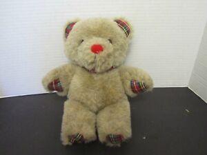 "Vintage 1984 Russ Berrie Applause Teddy Bear 10"" Plush Plaid Tie Stuffed Bear"