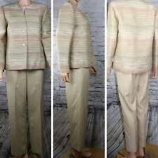 ALFRED DUNNER 2 piece Pants Suit cream beige 10p pants 8 jacket career metallic