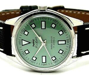 genuine hmt pilot hand winding men steel grey dial vintage india watch run