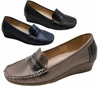 Womens Wedge Heel Shoes Ladies Pumps Office Work Casual Slip On Loafer Size