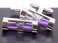 Men's Purple Sand Stainless Steel Hourglass Cufflinks, W/Black Velvet Gift Box!