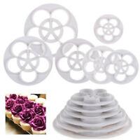 6Pcs Fondant Rose Flower Mold Gum Paste Cutter Cake Sugar Craft Decor Cookie NR7