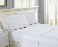100% EGYPTIAN COTTON LUXURY FLAT SHEET TOP HOTEL QUALITY BED SHEETS SATIN STRIPE