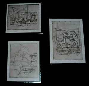 LINDLEY ARTIST ETCHING OF CARS (THREE ETCHINGS)
