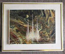 Vintage Futuristic Painting Signed Miguel Castro Castros Cityscape !