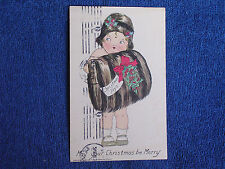 Raphael Tuck Muff Kiddies Christmas Postcard/Little Girl Looks Like a Flapper