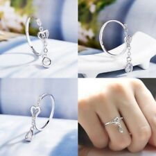 Adjustable White Sapphire 925 Silver Open Ring Women Wedding Engagement Jewelry
