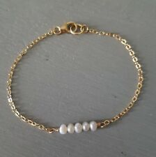 DESIGNER FRESHWATER PEARL BRACELET 18K GOLD FILL TINY BAR BRIDAL JEWELLERY GIFT