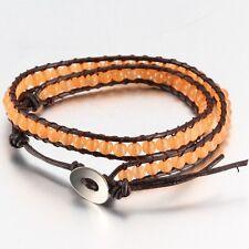 Brown Leather Bead Wrap Friendship Bracelet, With Orange Coloured Onyx Beads.