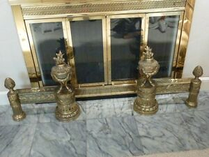 CONTINENTAL 19TH CENTURY GILT METAL ANDIRONS  SOUTHERN PACIFIC FAMILY ESTATE