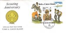 TURKS & CAICOS 1982 75th Ann BOY SCOUTS Sailboat HORSE Baden Powell SS FDC