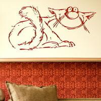 Cartoon Cat Wall Art Sticker Large Vinyl Transfer Graphic Decal Home Decor CA19