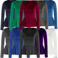 New Ladies Plus Size Long Sleeve Peplum Skater Tops Waisted Flared Tops 16-26