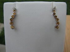 Citrine Round Cut Journey Earrings 10KT SOLID WG