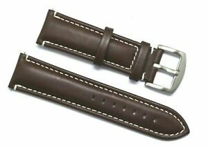 24mm Replacement Brown Leather White Stitched Men Watch Band - Fossil & Others