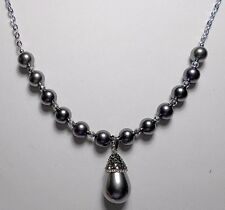 """Grey Shell Pearl drop + beads, Hematite, 22"""" necklace"""