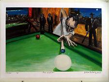 ORIGINAL PRINT Arthur Robins Oil Painting POOL HUSTLER pool cue NYC art NoResv
