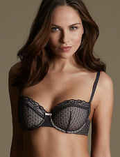 EX M&S LADIES Textured Push-Up Balcony Bras A-E IN BLACK OR MAUVE COLOUR (M3)