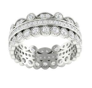 Round Diamond VVS1 E 2.00 Carat Eternity Anniversary Ring 14K Solid Gold 7.75 MM