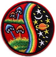 Hippy Alien Patch SciFi Iron Sew On Applique Badge Mushroom LOVE PEACE UFO Space