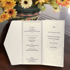 POCKETFOLD INVITATIONS INARI DL WHITE APPLIQUE INC MATCHING ENVELOPE & INSERTS