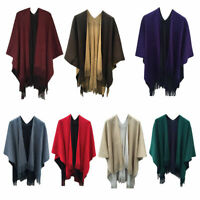 Women Winter Knit Tassel Side Split Cape Wrap Poncho Scarf Shawl