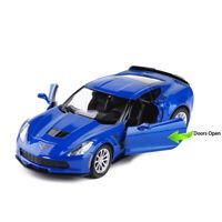 1:36 Chevrolet Corvette Grand Sport C7 Model Car Diecast Toy Pull Back Blue Kids