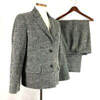Talbots Womens Black White Tweed Wool Blend Pant Suit  sz 12 R-14 P