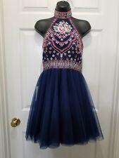 NWT LOVIERA Women's Homecoming HOCO Prom Dress NAVY EMBROIDERED SZ 2