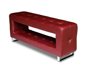 Thin small & stable storage leather bench handmade with real wine red leather.
