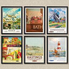 A4 Vintage Train Poster LNER Essex Bath Cheshire Hastings Cambridge