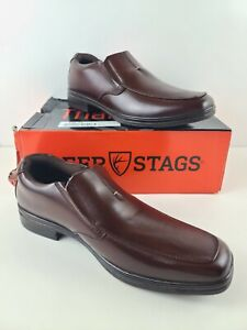 Deer Stags Mens Fit Memory Foam Slip-On Dress Casual Shoes 9.5m redwood brown