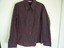 M&S fitted blouse size 18 top purple pink black striped long sleeve collar