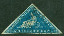 SG 2 Cabo de Buena Esperanza 4d azul en papel profundamente azulados. márgenes bien Usada, Completa..