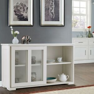 Storage Cabinet Sideboard Buffet Cupboard Glass Sliding Door Pantry Kitc