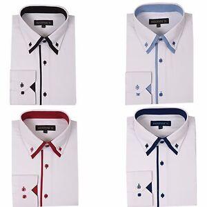 Men 's dress shirts 60% Cotton 40% Polyester Trim Collar and Button down AH618