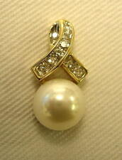 10K YELLOW GOLD CULTURED PEARL AND DIAMOND NECKLACE PENDANT - NO CHAIN! ESTATE!