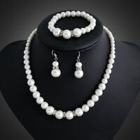 8 MM White Faux Freshwater Cultured Pearl Necklace and Stud Earring Set 18 inch